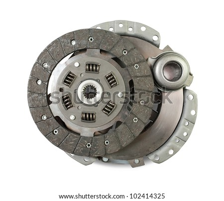 engine clutch. Isolated on white with clipping path - stock photo