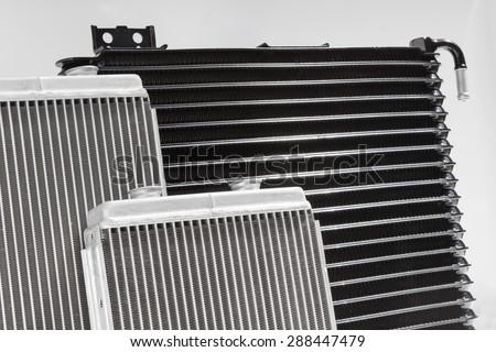 Engine cooling radiators - stock photo