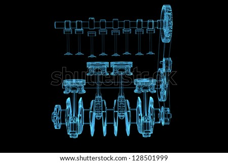 Engine (3D x-ray blue transparent isolated on black) - stock photo