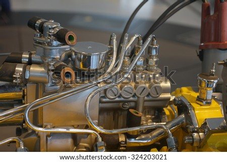 engine detail with cooling pipes - stock photo