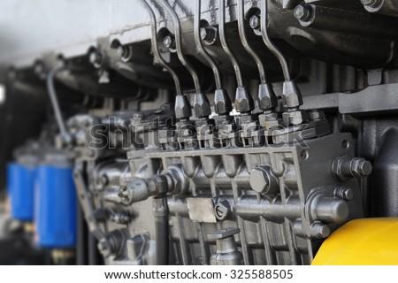 Engine details in perspective. Diesel engine. Motor truck background - stock photo