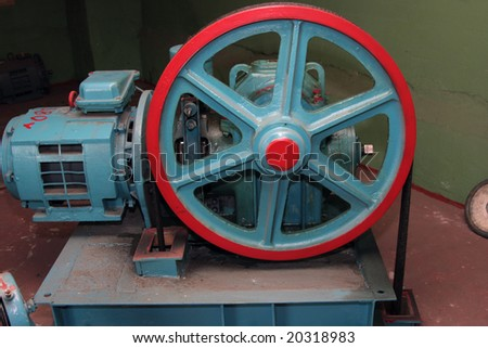Engine elevator in the engine room - stock photo