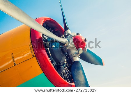 Engine of an old airplane close up image - stock photo