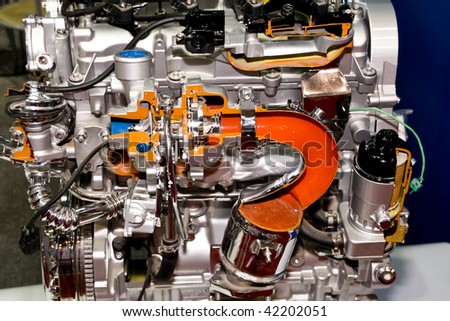 engine of modern car interior view .