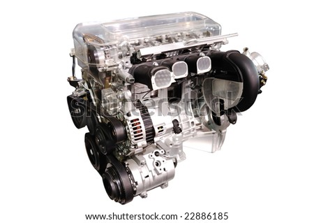 engine of modern car isolated white - stock photo