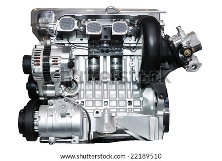 engine of modern car with lots of details. - stock photo