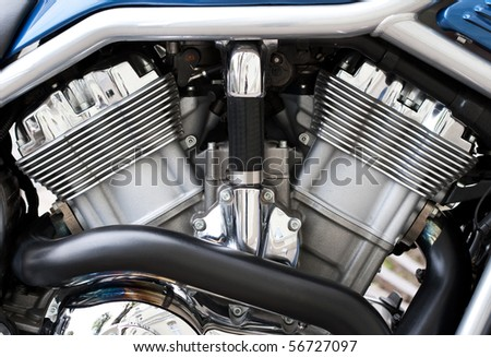 Engine of the motorcycle - stock photo
