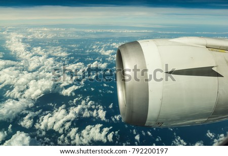 Engine Of The On Sky Plane Aerial Photography