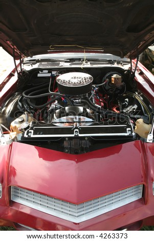 Engine of the Vintage Red Sport Car 70th, Transport - stock photo
