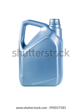 Engine oil canister isolated on white background.  - stock photo