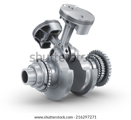 Engine pistons and cog. 3D image. - stock photo