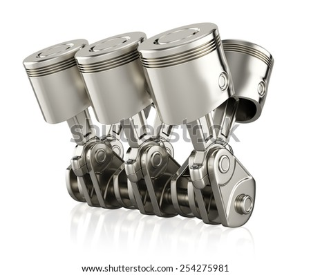 Engine pistons isolated on white background. 3d render - stock photo