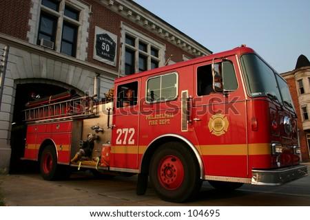 Engine responds to a fire call. - stock photo