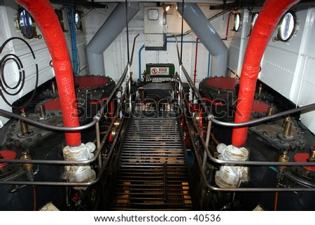 Engine Room on Steam Ship - stock photo