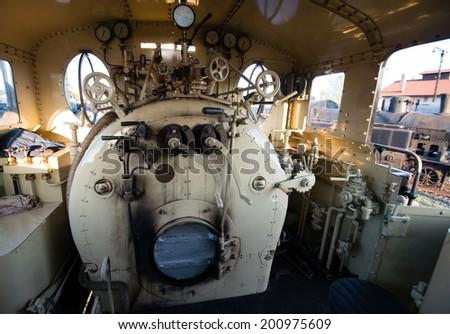 Engine room on the steam locomotive  - stock photo