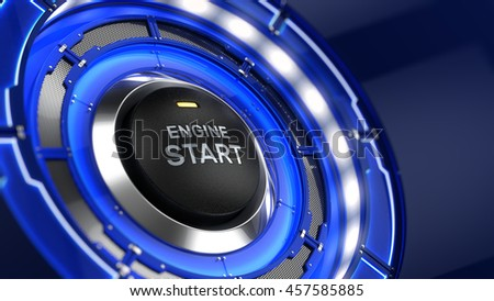 Engine start button with blue futuristic stylish elements - 3d illustration