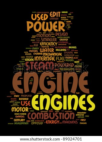 engine text clouds on black background