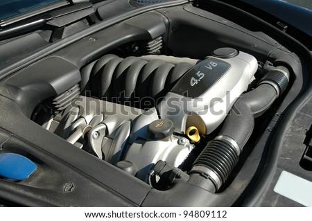 engine under the hood - stock photo
