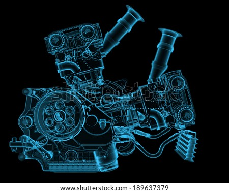 Engine x-ray blue transparent isolated on black - stock photo