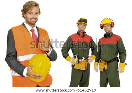 Engineer and worker isolated in white - stock photo