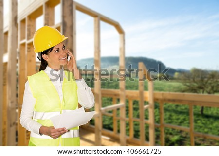 engineer building a new house - stock photo