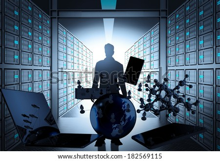 engineer business man in 3d network server room as concept  - stock photo