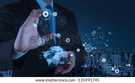 engineer businessman hand works industry diagram on virtual computer as concept - stock photo