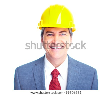 Engineer businessman. Isolated on white background.
