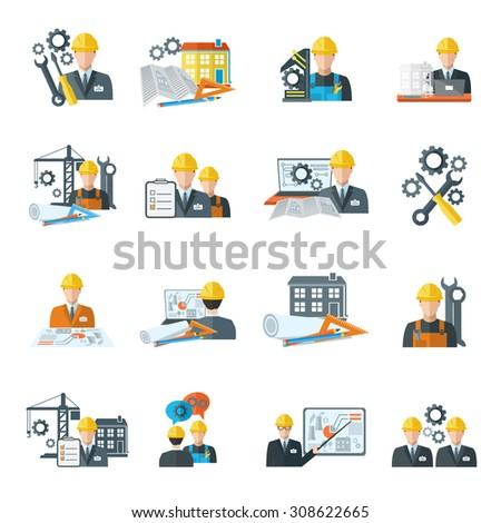 Engineer construction equipment machine operator managing and manufacturing icons flat set isolated  illustration - stock photo
