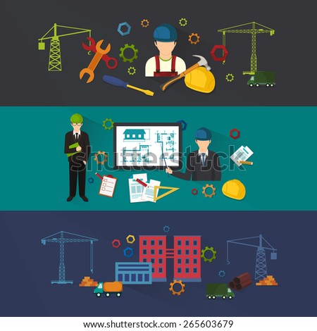 Engineer construction industrial factory manufacturing workers flat banner set isolated illustration - stock photo