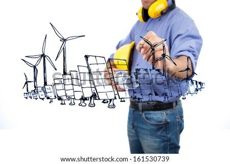 Engineer drawing renewable energy project. - stock photo