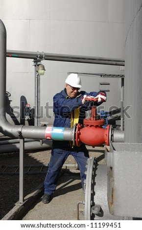 engineer, fuel-storage and pipelines - stock photo