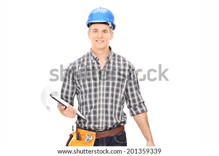 Engineer holding a clipboard isolated on white background - stock photo