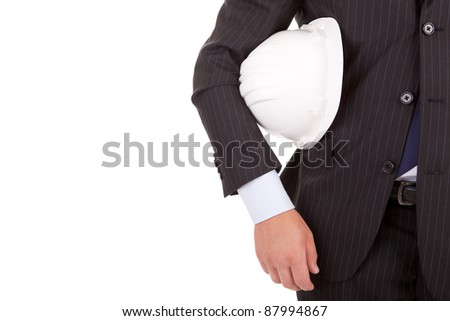 Engineer holding an helmet, isolated over white - stock photo