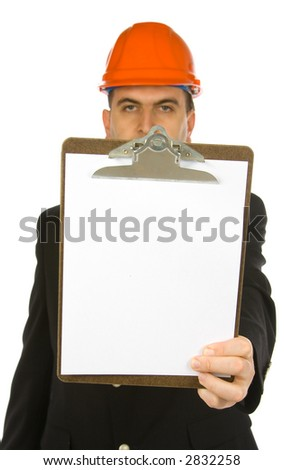 engineer holding clipboard isolated on a white background - stock photo