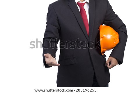 engineer holding orange helmet for workers security on white background - stock photo