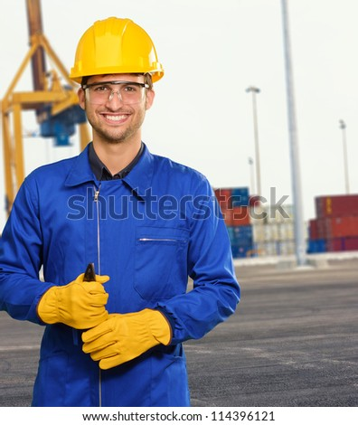 Engineer Holding Plier, Outdoor - stock photo