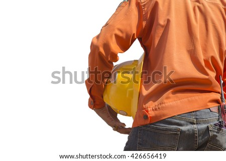 engineer holding yellow helmet for workers security on white background - stock photo