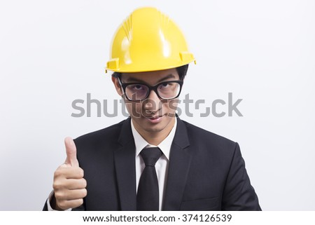 Engineer in black suit on isolated white background