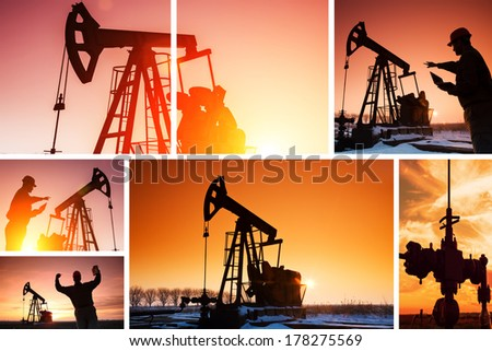 Engineer in the front of the pumpjack, sunset light, lens flare.Split screen