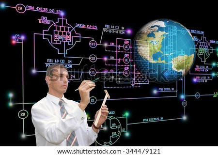 Engineer, industrial engineering electrical scheme,globe planet. E-connection engineering technology. Working Engineer - stock photo
