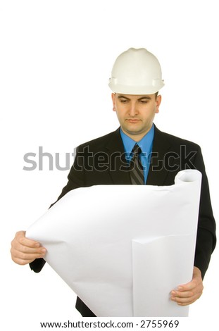 engineer inspecting a drawing isolated on a white background - stock photo