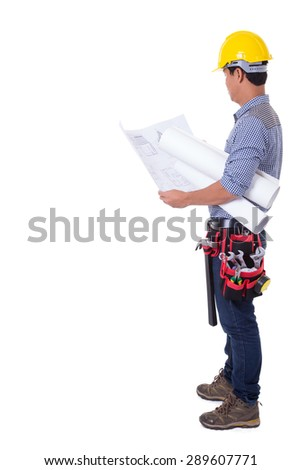 Engineer man standing on a white background. - stock photo