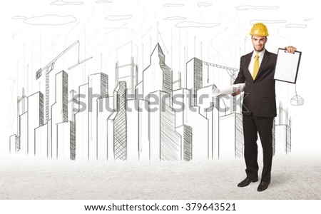 Engineer man with building city drawing in background - stock photo