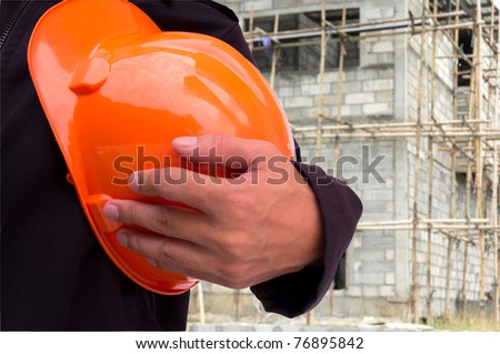 engineer on construction side - stock photo