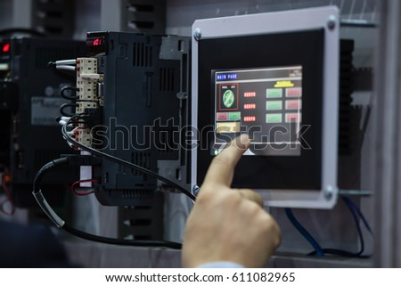 stock photo engineer operate with industrail panel touchscreen in a factory 611082965 replacing fuse fuse box car stock photo 309959627 shutterstock Broken Fuse Box at fashall.co