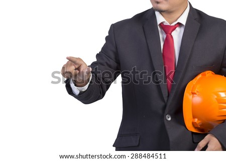 engineer orange helmet for workers security white background - stock photo