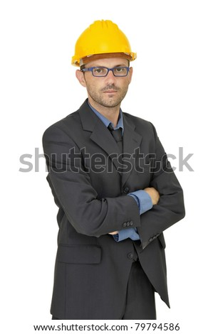 Engineer posing isolated in white - stock photo