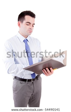 Engineer reading plan, isolated over white background