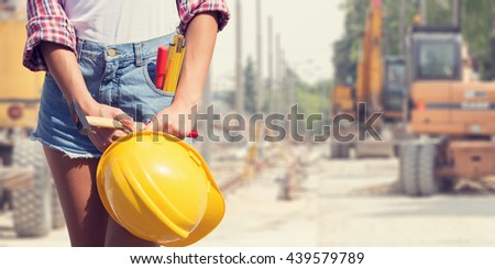 Engineer ready for work on a construction site. - stock photo